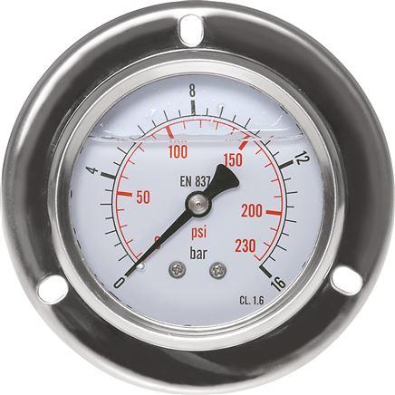 Glycerin-Einbaumanometer mit großem Frontring für Schalttafeleinbau, Eco-Line