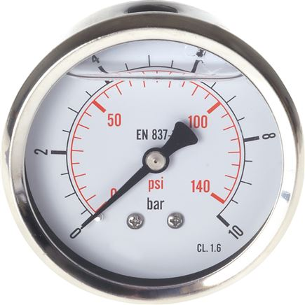 Glycerinmanometer waagerecht Ø 63 mm Chromnickelstahl / Messing, Eco-Line