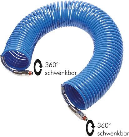 Polyamid-Spiralschläuche mit Knickschutzspirale 360° drehbar, DIN 73378 (Eco-Line)